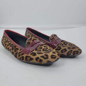Donald J Pilner halla leather calf hair loafers 8M